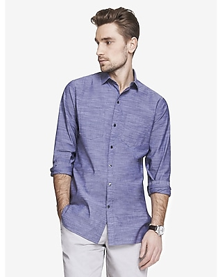 Express Mens Long Slub Chambray Shirt Blue Men's S Blue S
