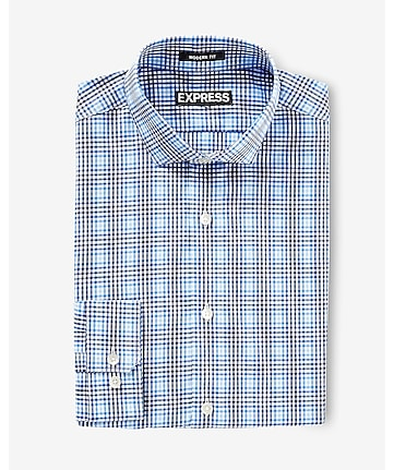modern fit optical plaid dress shirt