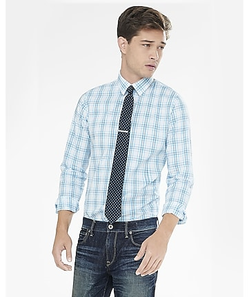 extra slim plaid dress shirt