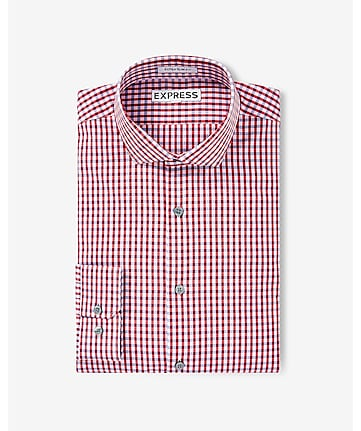 slim small check dress shirt