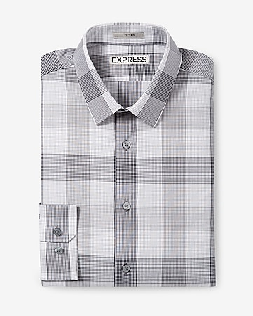 fitted screen plaid dress shirt