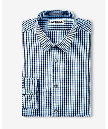 fitted small check dress shirt