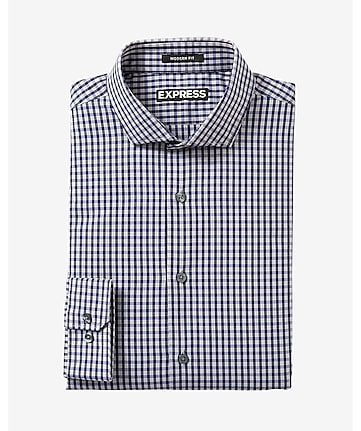 modern fit small check dress shirt