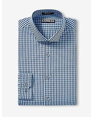 EXPRESS Men's Dress Shirts Modern Fit Small Check Dress Shirt Blue L Tall
