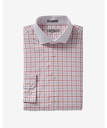 fitted graph check contrast collar dress shirt