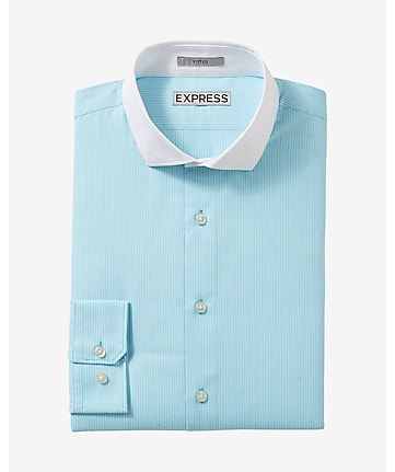 fitted contrast collar striped dress shirt