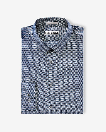 fitted circle print dress shirt