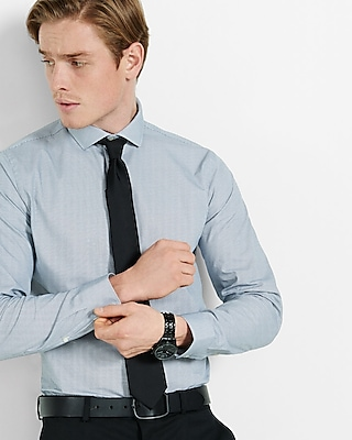 Express Mens Fitted Micro Print Dress Shirt