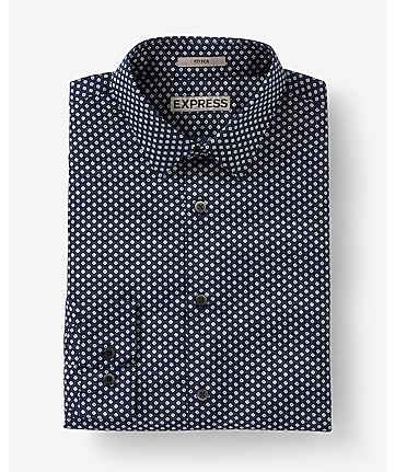 fitted micro print dress shirt