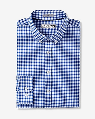 Express Mens Fitted Check Button Collar Performance Shirt