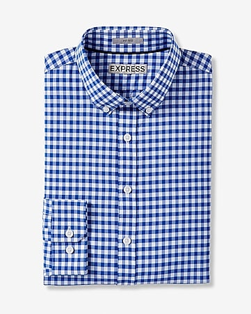 fitted express tech easy care check shirt