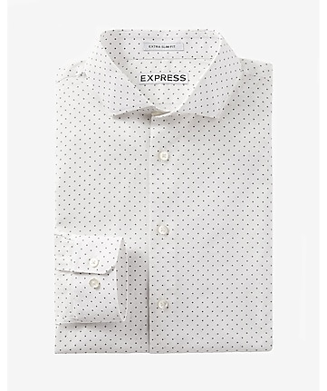 slim fit dot print dress shirt