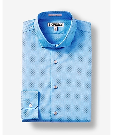 fitted dot print blue dress shirt