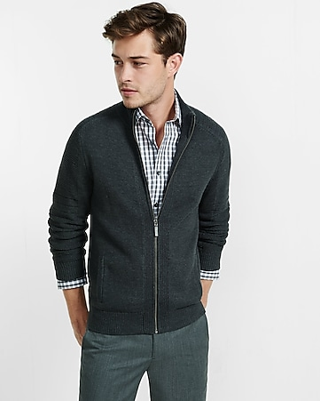 zip front mock neck moto sweater