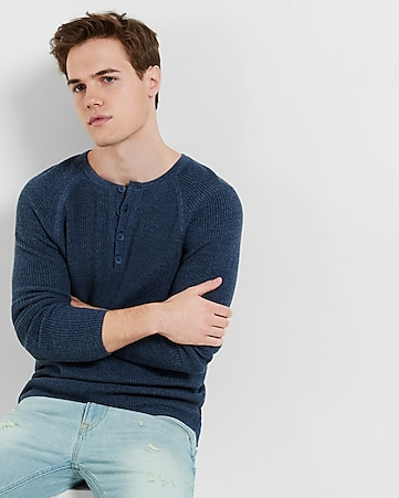 textured henley sweater