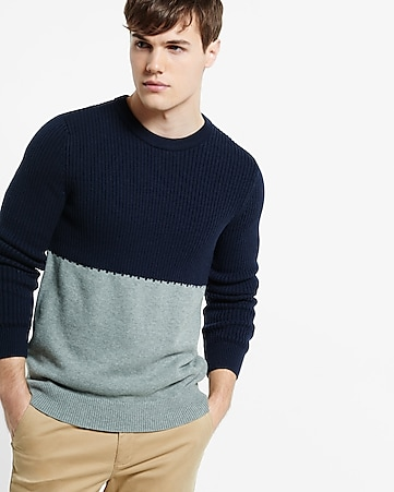 rib color blocked crew neck sweater