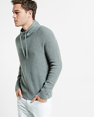 drawstring funnel neck engineered rib sweater