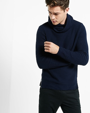 crossover funnel neck textured sleeve sweater