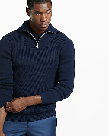 ribbed zip high mock neck sweater