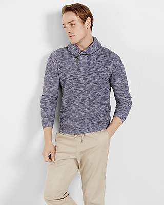Express Mens Marled Cotton Zip Shawl Collar Sweater Blue Small