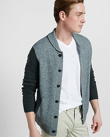 wool blend shawl collar baseball cardigan