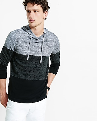 Express Mens Striped Color Block Hooded Sweater