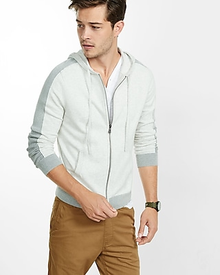 Express Mens Plaited Zip Front Hoodie