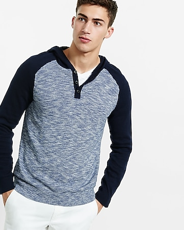 raglan sleeve henley hooded sweater