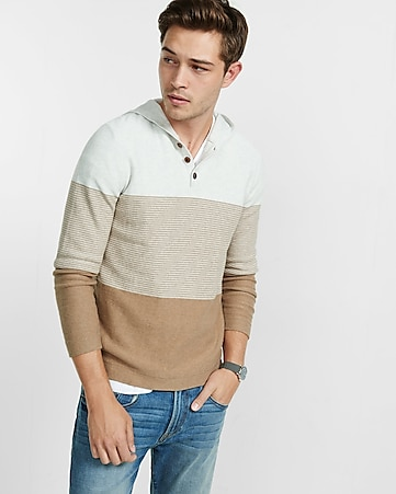 color blocked henley hoodie