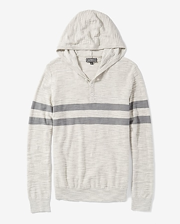 striped slub knit hooded henley sweater