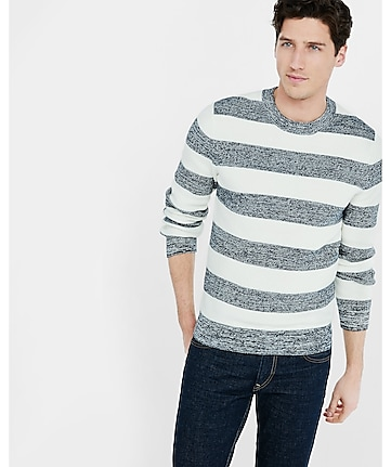 marled crew neck rugby stripe sweater