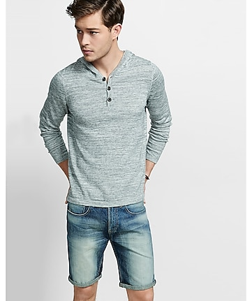 marled henley hooded sweater