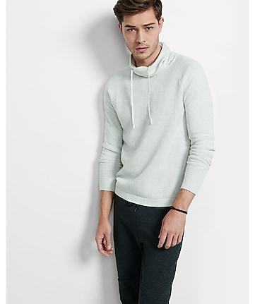 raglan sleeve textured funnel neck sweater