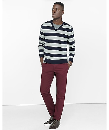 rugby stripe v neck sweater