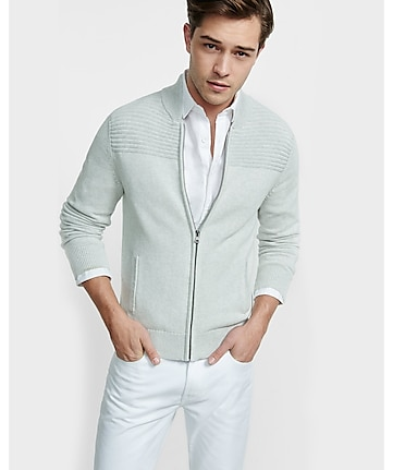 ribbed shoulder zip front cardigan