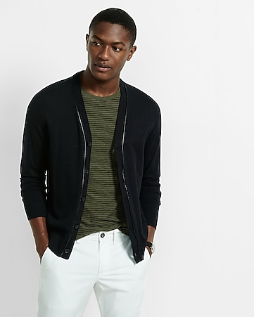 piped v-neck cardigan