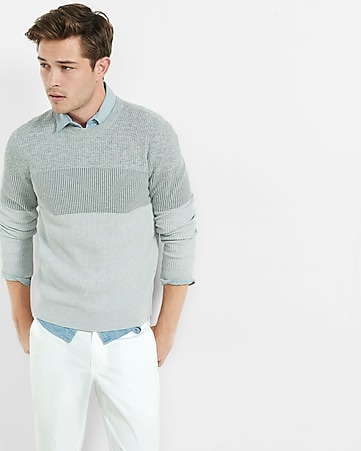 marled color block crew neck sweater