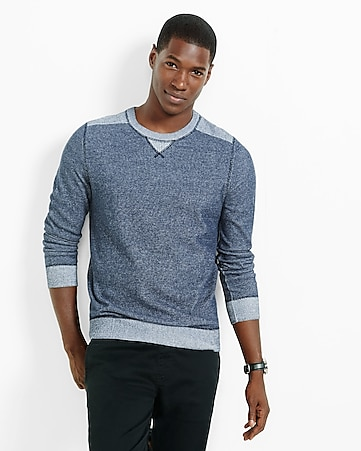 plaited crew neck sweater