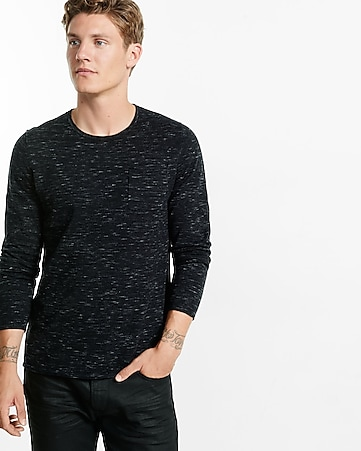 roll crew neck space dyed sweater