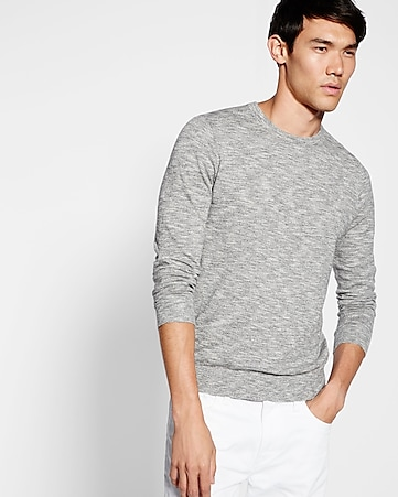 marled slub crew neck sweater