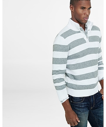 button mock neck striped sweater