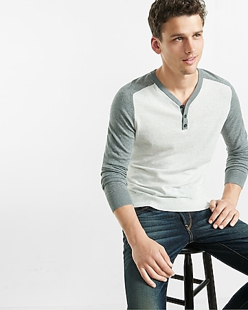lightweight long sleeve y-neck baseball henley