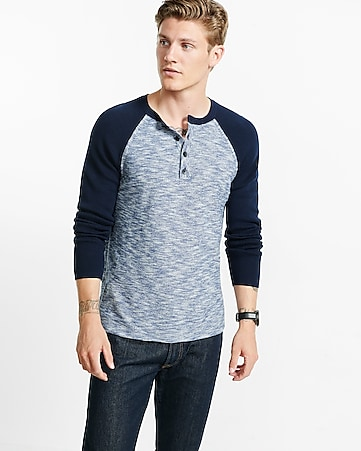 marled color block henley