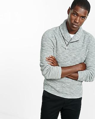 Express Mens Marled Cotton Zip Shawl Collar Sweater
