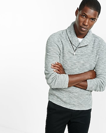 marled zip shawl collar sweater