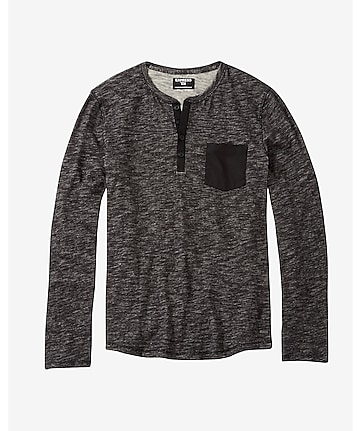 marled slub knit pocket henley t-shirt