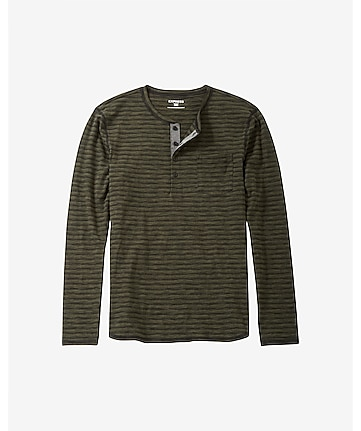ombre texture striped long sleeve henley