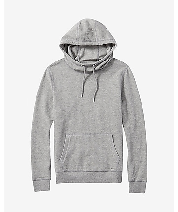 gray ribbed knit hoodie