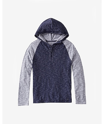 color block textured henley hoodie