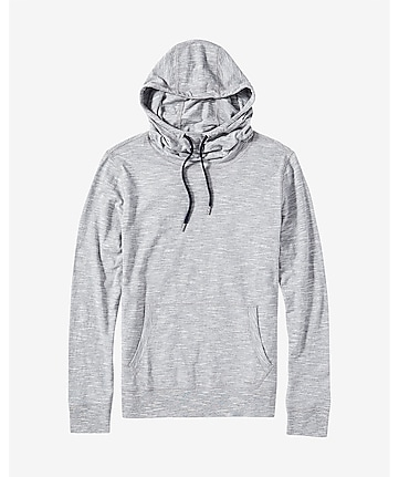 textured stripe funnel neck hoodie